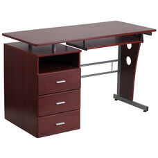 Mahogany Desk with Three Drawer Pedestal and Pull-Out Keyboard Tray