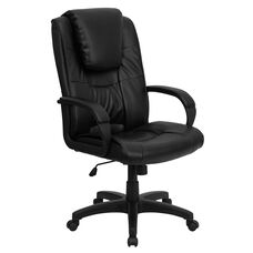High Back Black LeatherSoft Executive Swivel Office Chair with Oversized Headrest and Arms