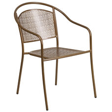 Commercial Grade Gold Indoor-Outdoor Steel Patio Arm Chair with Round Back
