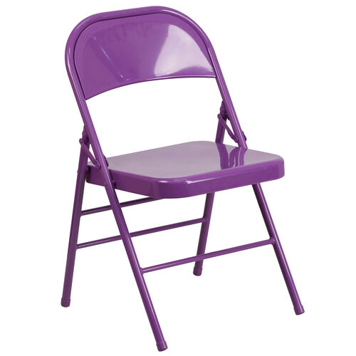 Our HERCULES COLORBURST Series Impulsive Purple Triple Braced & Double Hinged Metal Folding Chair is on sale now.
