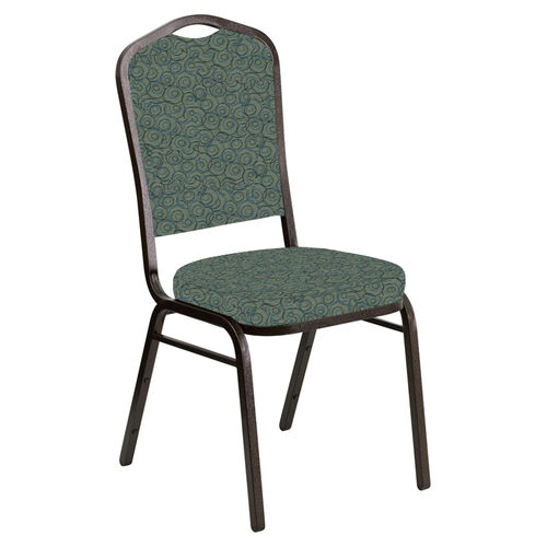 Our Embroidered Crown Back Banquet Chair in Martini Smokey Fabric - Gold Vein Frame is on sale now.