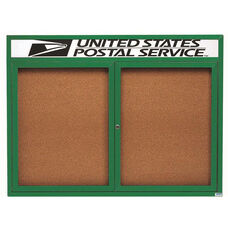 2 Door Indoor Enclosed Bulletin Board with Header and Green Powder Coated Aluminum Frame - 36