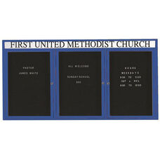 3 Door Indoor Enclosed Directory Board with Header and Blue Anodized Aluminum Frame - 36