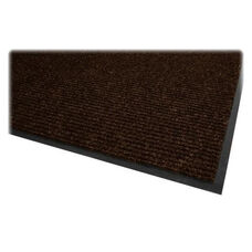 Genuine Joe Dual Rib Carpet Surface - Vinyl Backing - 4'' x 6'' - Chocolate