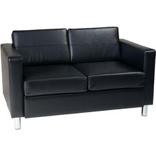 Ave Six Pacific Faux Leather Loveseat with Chrome Finish Legs - Black