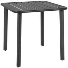 Vista Outdoor Square Aluminum Table with Umbrella Hole - Black
