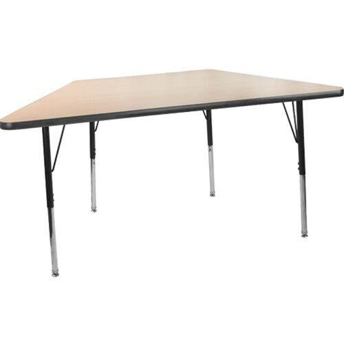 Advantage 30 in. x 60 in. Trapezoidal Adjustable Activity Table - Maple/Black