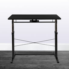 """Height Adjustable (27.25-35.75""""H) Sit to Stand Home Office Desk - Black"""