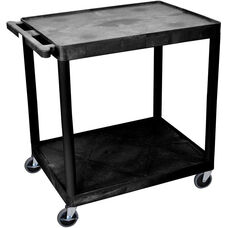 2 Shelf Structural Foam Plastic Utility Cart - Black - 32''W x 24''D x 34.5''H