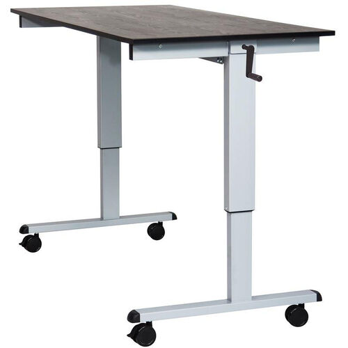 Adjustable Height Silver Steel Frame Standing Desk with Crank Handle - Dark Walnut Top - 59