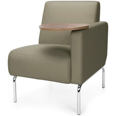 Triumph Left Arm Modular Lounge Chair with Tablet Vinyl Seat and Chrome Feet - Taupe Seat with Bronze Finish Tablet
