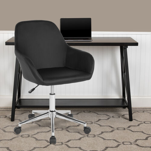 Cortana Home and Office Mid-Back Chair in Black LeatherSoft