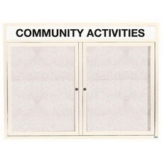 2 Door Outdoor Illuminated Enclosed Bulletin Board with Header and White Powder Coated Aluminum Frame - 48