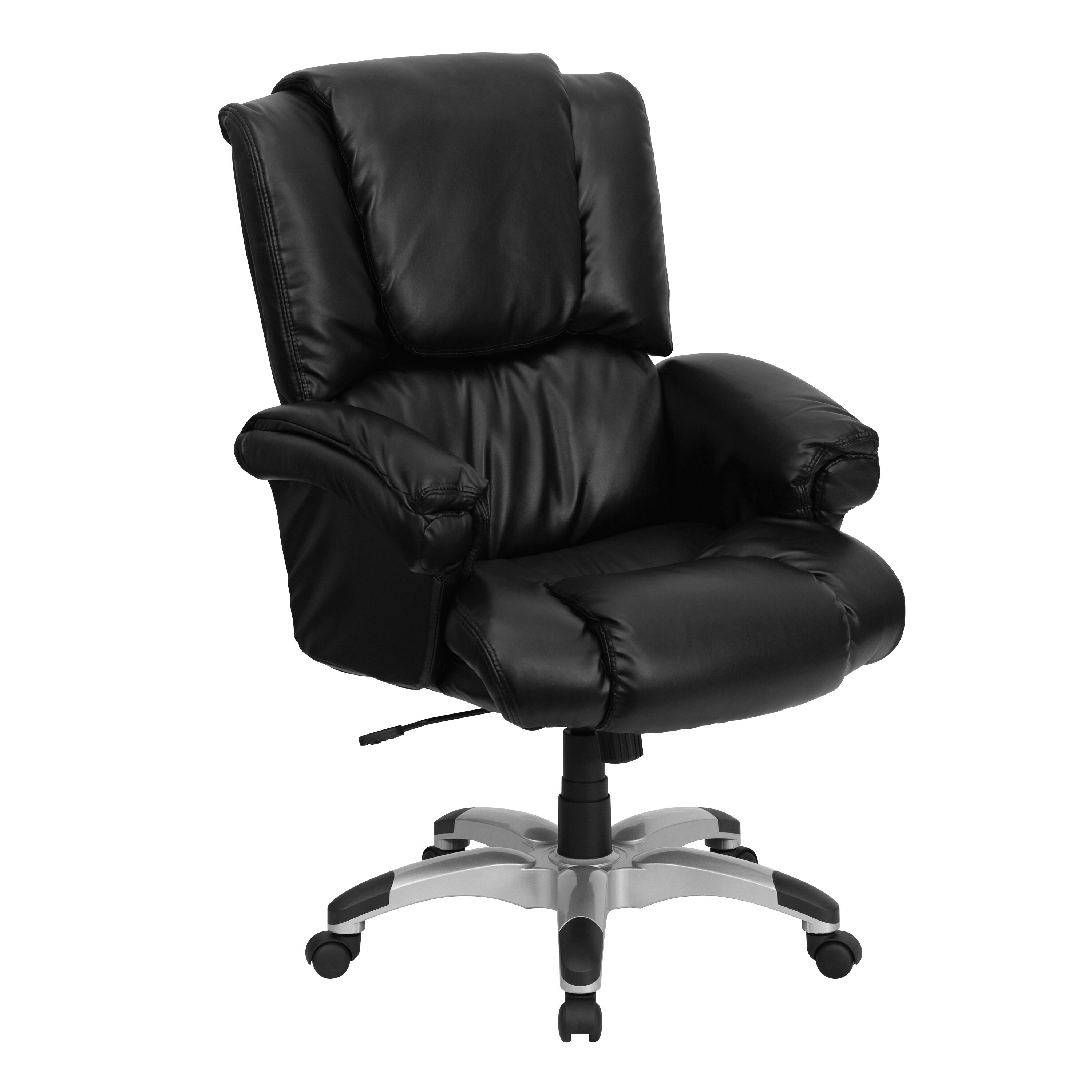 ... Our High Back Black Leather OverStuffed Executive Swivel Chair With  Fully Upholstered Arms Is On Sale ...