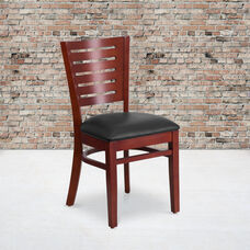 Mahogany Finished Slat Back Wooden Restaurant Chair with Black Vinyl Seat