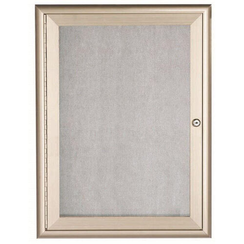 1 Door Enclosed Bulletin Board with Aluminum Waterfall Style Frame - 36