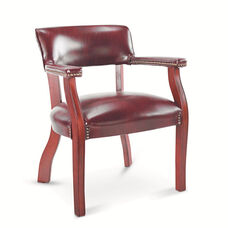 Alera® Traditional Series Guest Arm Chair - Mahogany Finish/Oxblood Vinyl