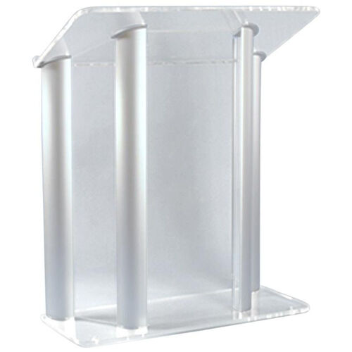 Our Contemporary Non-Sound Clear Acrylic and Silver Aluminum Lectern - 42