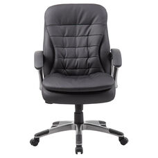 Mid Back Pillow Top Pewter Finish Executive Chair with Armrests - Black