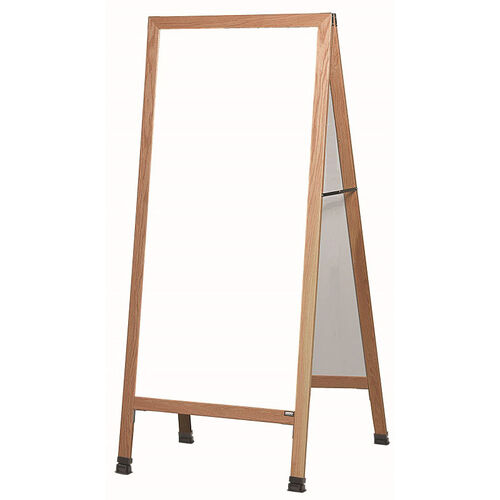 Our Extra Large A-Frame Sidewalk Board with White Melamine Marker Board and Clear Lacquer Finished Solid Red Oak Frame - 30