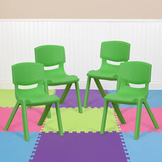 4 Pack Green Plastic Stackable School Chair with 12