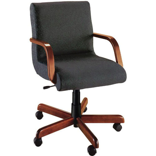 Quick Ship Scoop Management Chair with Wood Arms