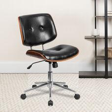 Low Back Black Leather Ergonomic Wood Swivel Task Office Chair