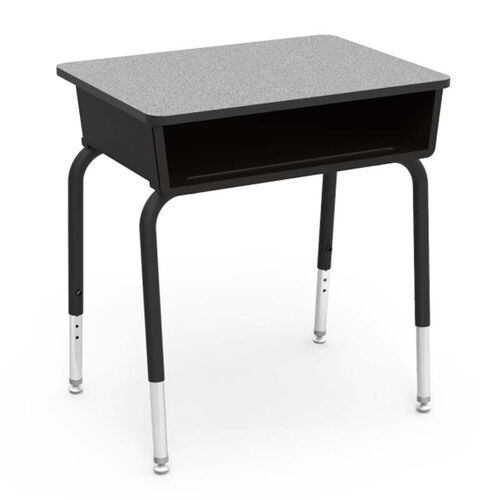 785 Series Laminate Top Student Desk with Black Open Front Plastic Book Box and Black Legs - 24