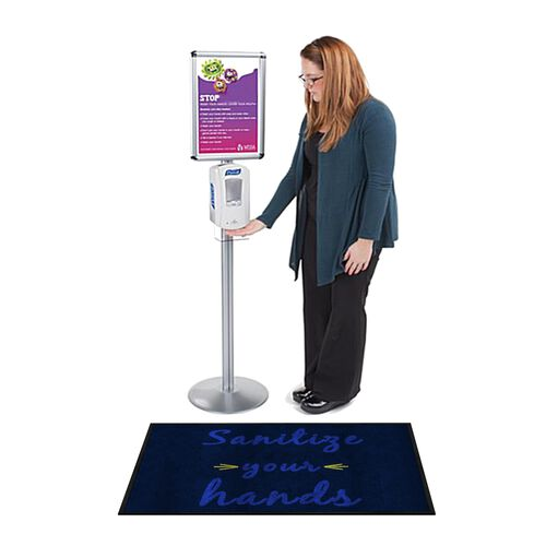 """Sanitize Your Hands"" Message Floor Mat - 24""W x 35""D"