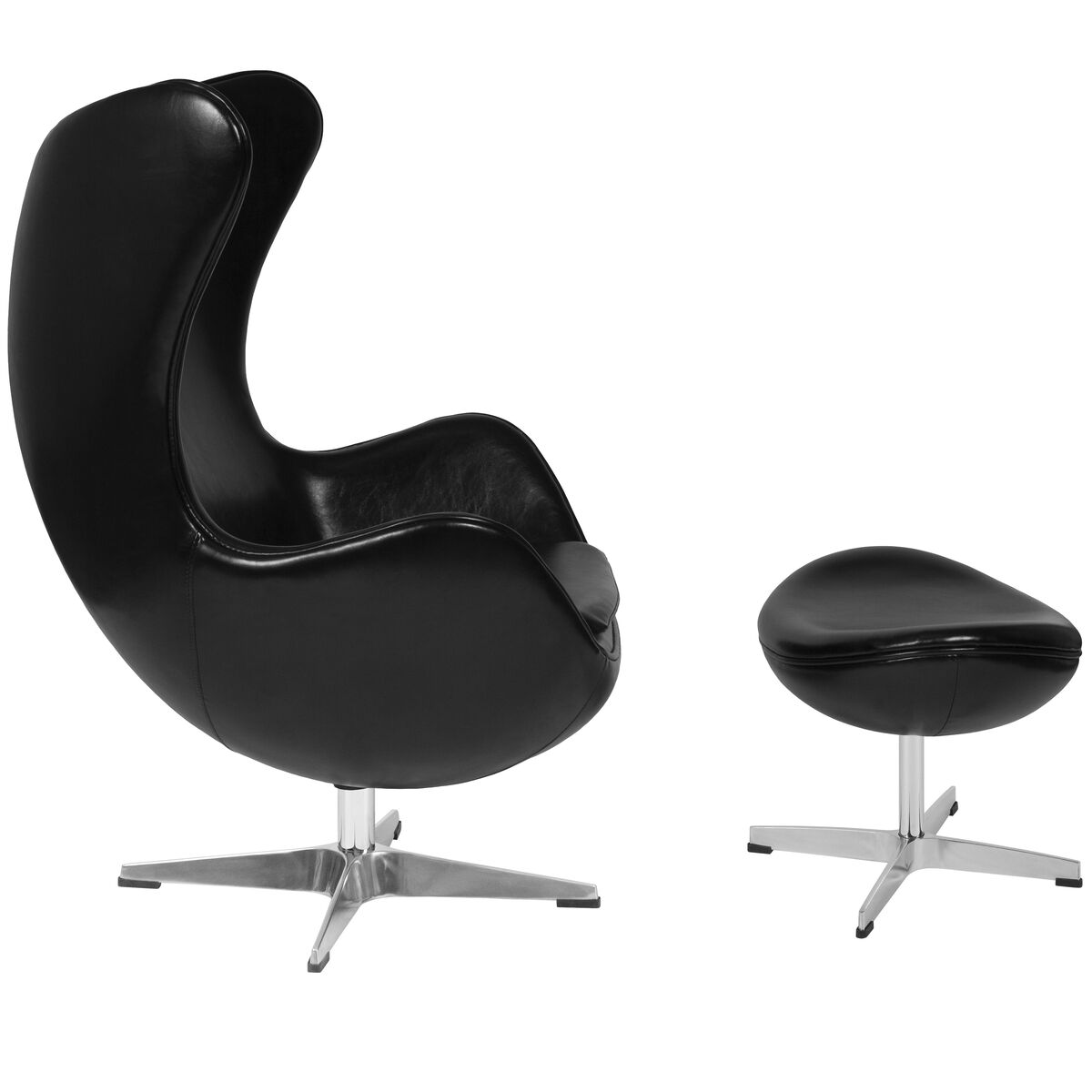 Brilliant Black Leather Egg Chair With Tilt Lock Mechanism And Ottoman Ibusinesslaw Wood Chair Design Ideas Ibusinesslaworg
