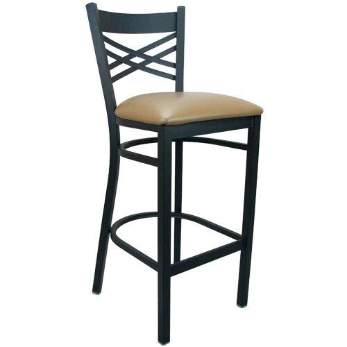 Advantage Black Metal Window Pane Back Chair - Beige Padded