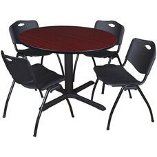 Cain 48'' Round Laminate Breakroom Table with 4 ''M'' Stack Chairs - Mahogany Table Finish and Black Chairs