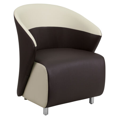 Our Dark Brown Leather Lounge Chair with Beige Detailing is on sale now.