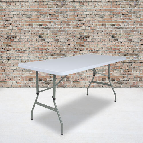 4.93-Foot Height Adjustable Granite White Plastic Folding Table
