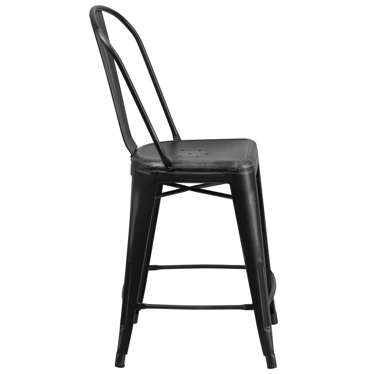 Distressed Black Metal Stool Et 3534 24 Bk Gg Churchchairs4lesscom