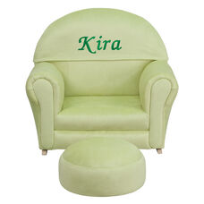 Personalized Kids Green Microfiber Rocker Chair and Footrest
