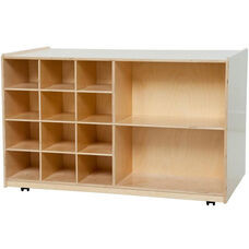 Wooden Storage Unit with 2 Shelves and 12 Storage Compartments - 48