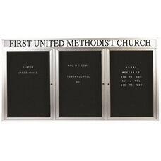 3 Door Indoor Enclosed Directory Board with Header and Aluminum Frame - 36
