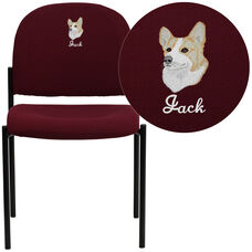 Embroidered Comfort Burgundy Fabric Stackable Steel Side Reception Chair