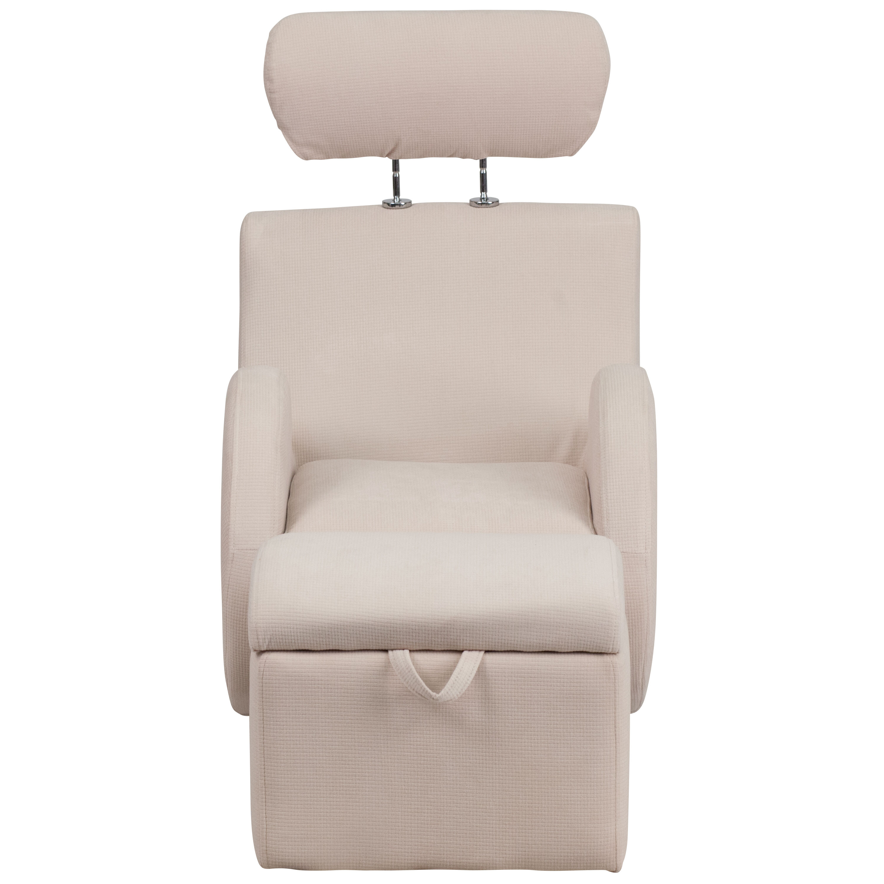 Our HERCULES Series Beige Fabric Rocking Chair With Storage Ottoman Is On  Sale Now.