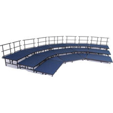 3 Level Seated Band/Choral Riser Group Set with Carpeted Surface and Heavy Duty Square Steel Tubing - 36