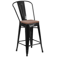 "24"" High Black Metal Counter Height Stool with Back and Wood Seat"