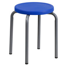 Stackable Stool with Blue Seat and Silver Powder Coated Frame