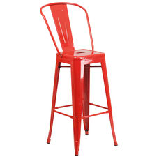 """Commercial Grade 30"""" High Red Metal Indoor-Outdoor Barstool with Back"""
