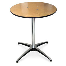Round Plywood Pedestal Table with Aluminum X-Base
