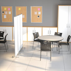 """Mobile Magnetic Whiteboard Partition with Lockable Casters, 72""""H x 24""""W (3 sections included)"""