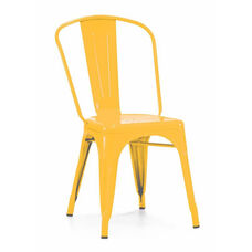 Dreux Stackable Glossy Yellow Steel Side Chair - Set of 4