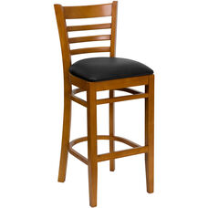 Cherry Finished Ladder Back Wooden Restaurant Barstool with Black Vinyl Seat