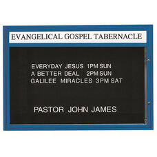 Double Sided Illuminated Community Board with Header and Blue Powder Coat Finish - 42