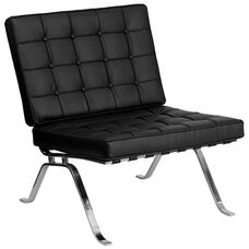 HERCULES Flash Series Black Leather Lounge Chair with Curved Legs